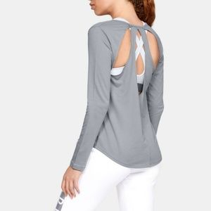 NWOT Under Armour Pindot Open Back L/S Top